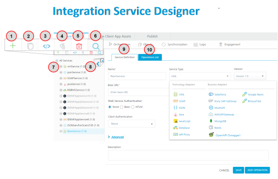 Using Integration to add services in the Kony MobileFabric, Kony Doc
