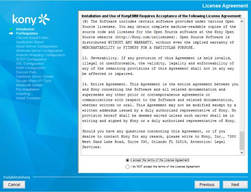 Activating Kony Management Suite License Through Installer