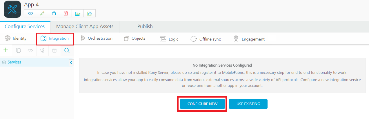Using Integration to add services in the Kony Fabric, Kony